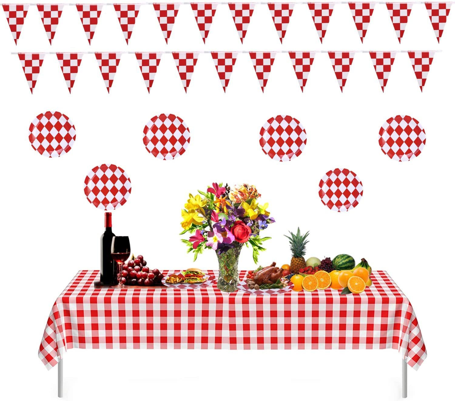Aliyaduo 2 PCS 54 x 108 Red and White Premium Checkered Tablecloths 2 PCS 32.8 feet Pennant Banner 20 PCS 9 Disposable Paper Plate Perfect for Family Dinner/Outdoor Party