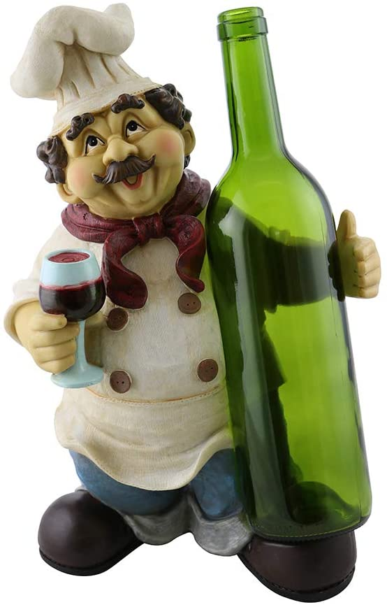 (D) Wine Bottle Holder, Chef with Bottle, Home Decor and Gift for Housewarming