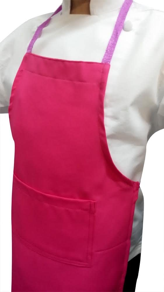 CHEFSKIN Hot Pink Medium Lot of 5 Chef Aprons Real Fabric Pocket Lightweight