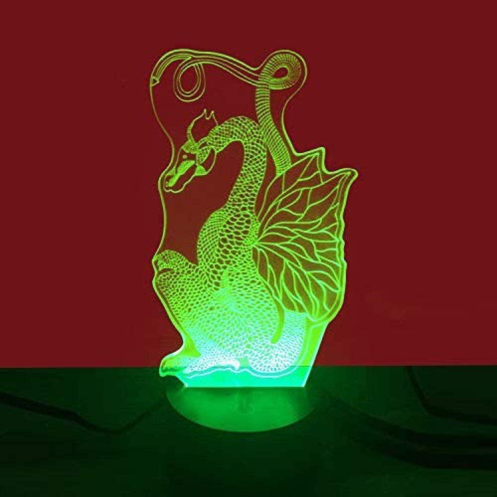 sagfinwk 3D LED Optical Illusion Lamps Night Light Dragon 7 Colors Flashing Change Acrylic Lighting for Kids Bedroom Holiday Decoration