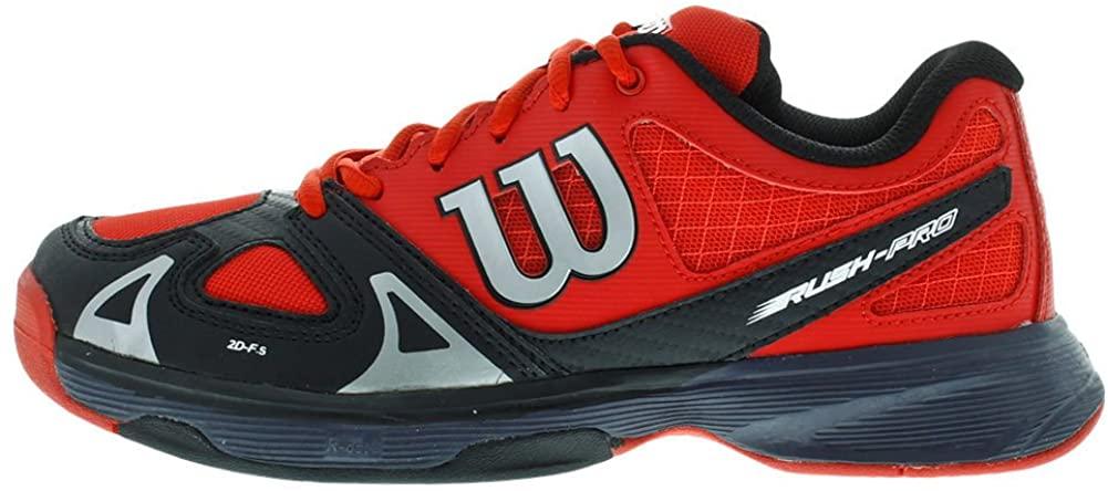 Wilson Rush Pro JR Tennis Shoe (Little Kid/Big Kid), Wilson Red/Black/Coal, 4 M US Big Kid