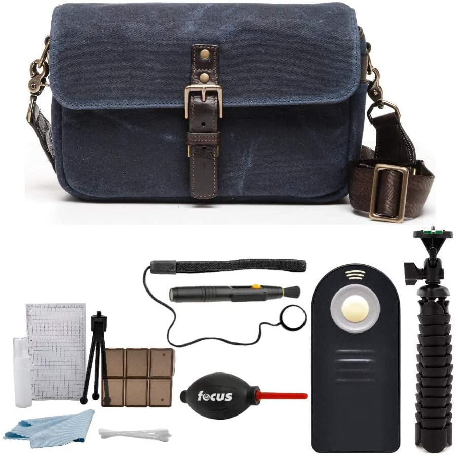 ONA Bowery Navy Blue Camera Messenger Bag, Waxed Canvas & Leather & Photographer's Accessory Kit