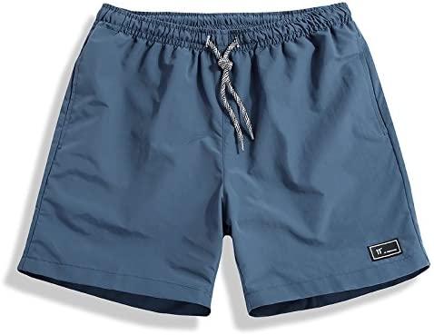 Men's Classic Fit Casual Fleece Jogger Gym Workout Short Pants with Elastic Waist (M, Light Blue)