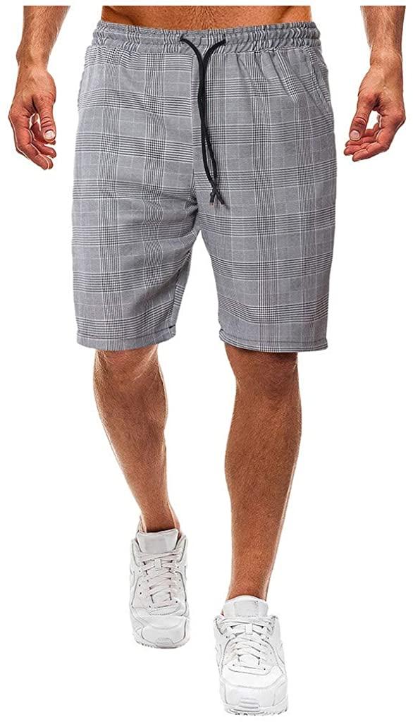 Mens Elastic Waist Drawstring Joggers Short Pants Plaid Workout Shorts with Pockets