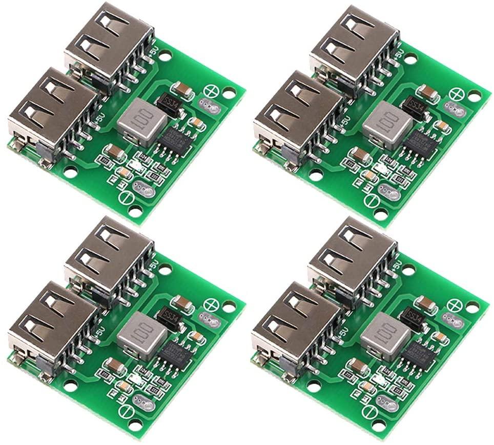 MakerHawk 4pcs USB DC-DC Voltage Buck Regulator Step Down Power Supply Module 9V 12V 24V to 5V Dual USB Output Buck Voltage Board 3A 6-26V Car Charge Charging Regulator (4PCS)