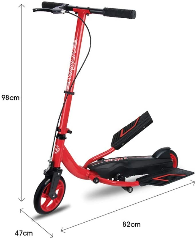 PLLP Child Foldable Scooter-Scooter Kick Adult Kick with Handbrake, Non-Slip Double Pedals for Teen Age Over 8Yr Old, 70Kg Load, 18Cm Large Pu Wheel