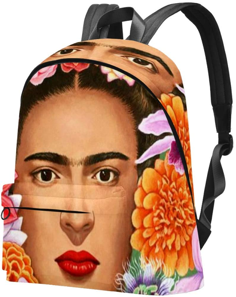 Frida Kahlo Floral Exotic Portrait Flowers Students Shoulder Bag Travel Casual Daypack for Man&Woman