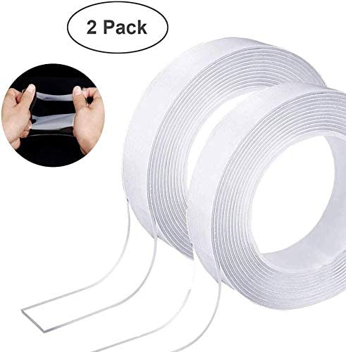 KQY Traceless Clear Double Sided Mounting Tape,Washable Adhesive Silicone Tape for Glass Metal Kitchen Cabinets Gel Grip Tape 1219 (Color : 3.28ft)