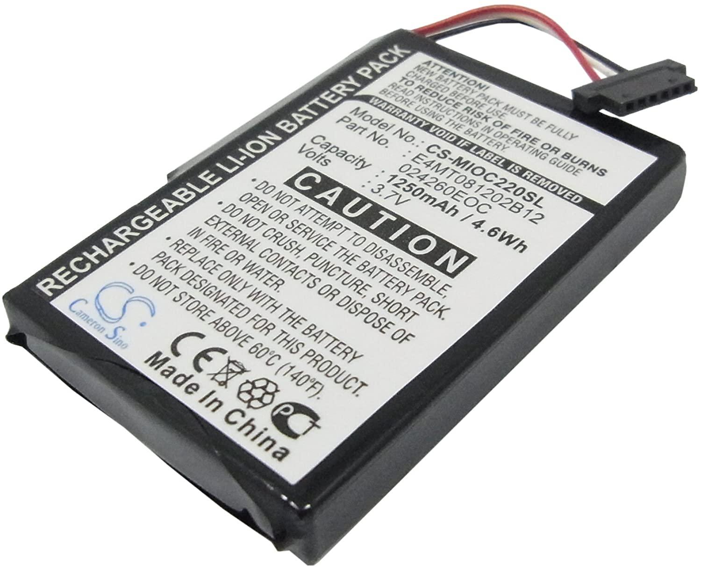 Battery Pack E4MT081202B12 Replacement for Mitac Mio C210 Mio C220 Mio C220s 1250mAh