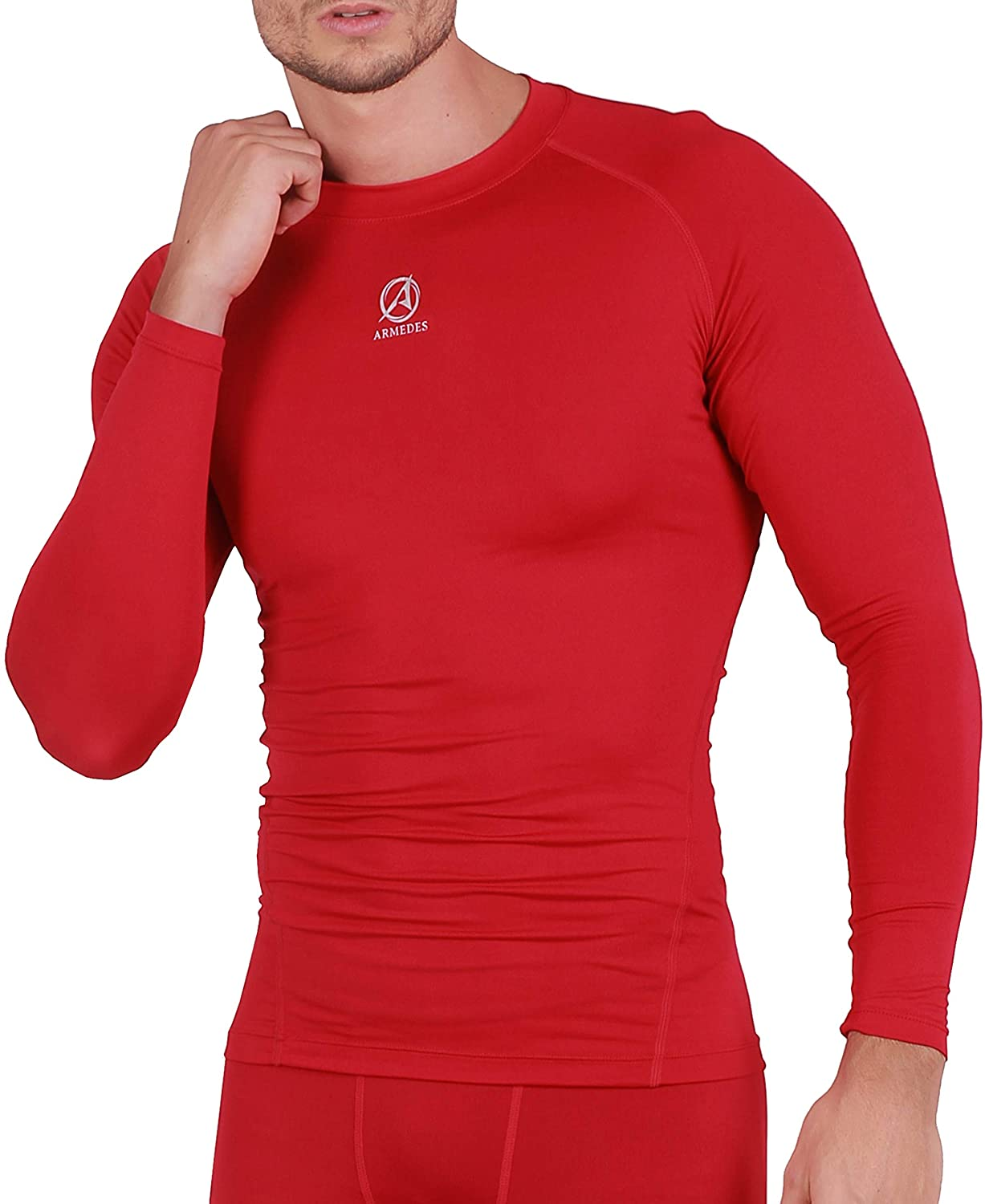 ARMEDES Men's Long Sleeve T-Shirt Baselayer Cool Dry Compression Top (141 Red, XX-Large)