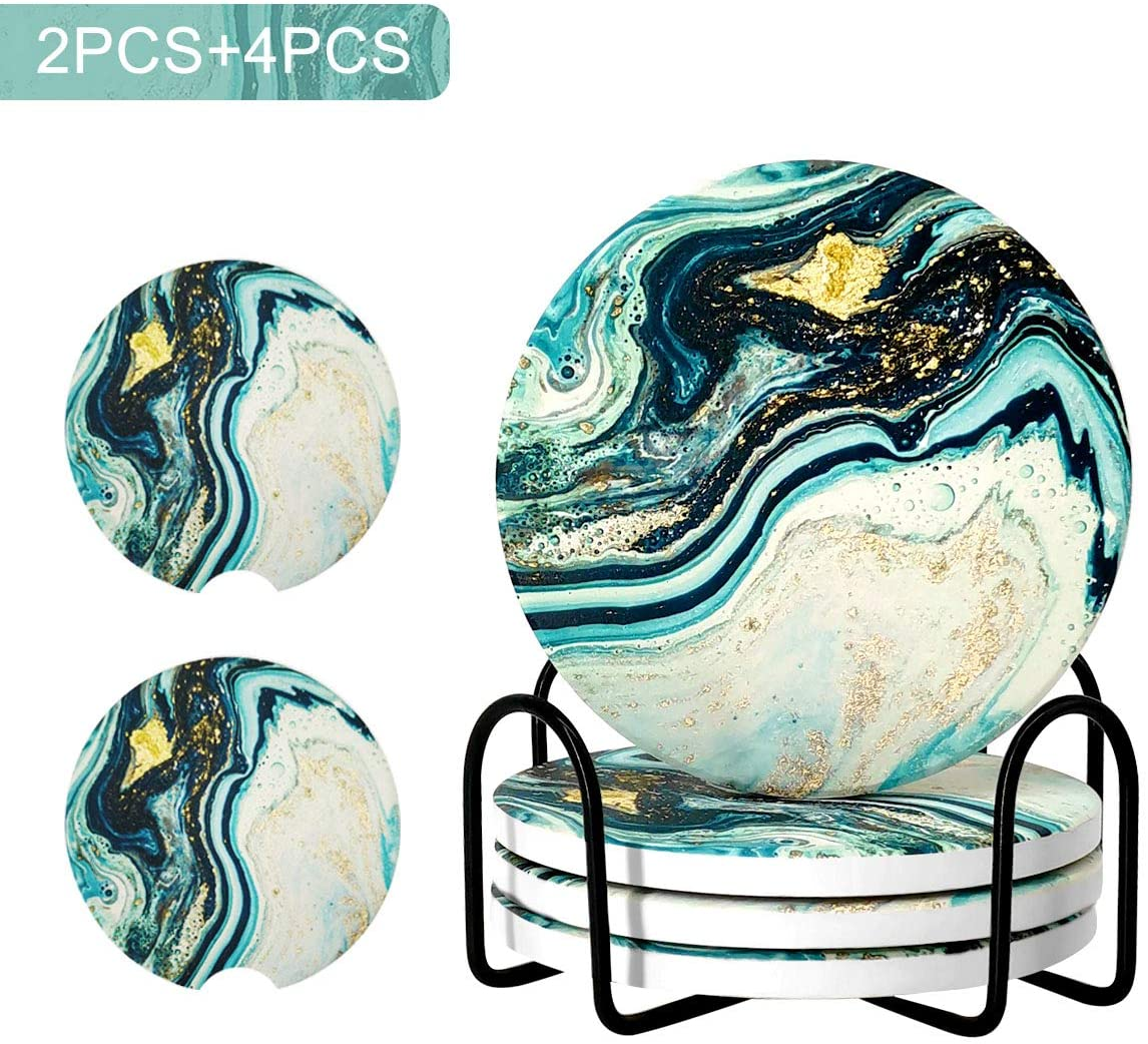 JOYSOG Coasters for Drinks Absorbent with Holder, Teal Marble Drink Coasters, Ceramic Stone Coasters for Desk Tabletop Protection,4 Pack 4