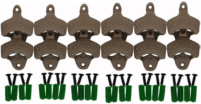 Dsmile Wall Mount Bottle Opener - Cast Iron 12 Pack Set - Vintage Rustic Bar