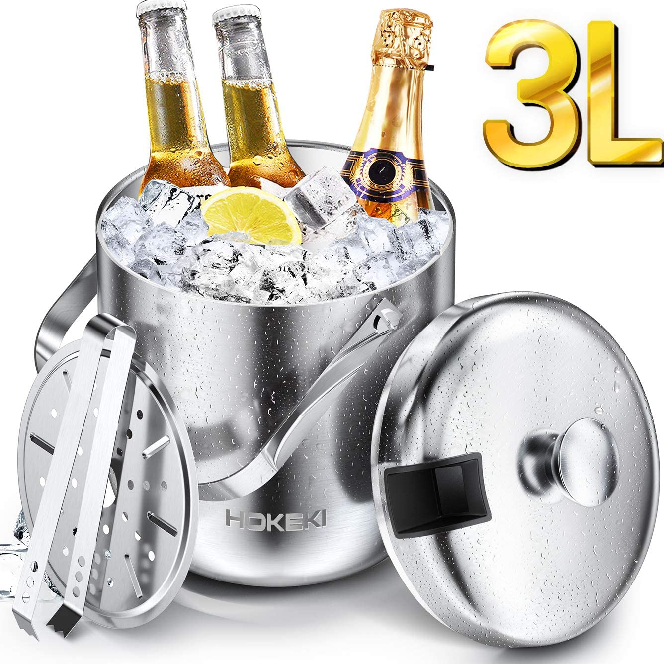Ice Bucket, HOKEKI Stainless Steel Insulated Double Wall Bar Ice Bucket Set, Included Lid, Tongs and Strainer Keeps Ice Cold & Dry, Great for Home Bar, Chilling Beer, Champagne and wine (Silver)