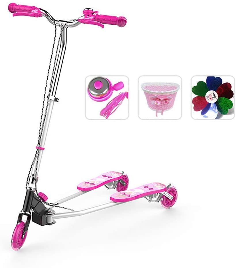 PLLP Outdoor Sports Scooter Kick,Folding Frog Kick Scoooter with Flashing Wheel, Adjustable T-Bar Drifting for 110-150Cm Height, 100Kg Load,Non-Electric Adult Child Toy Balance Car Mini,Pink