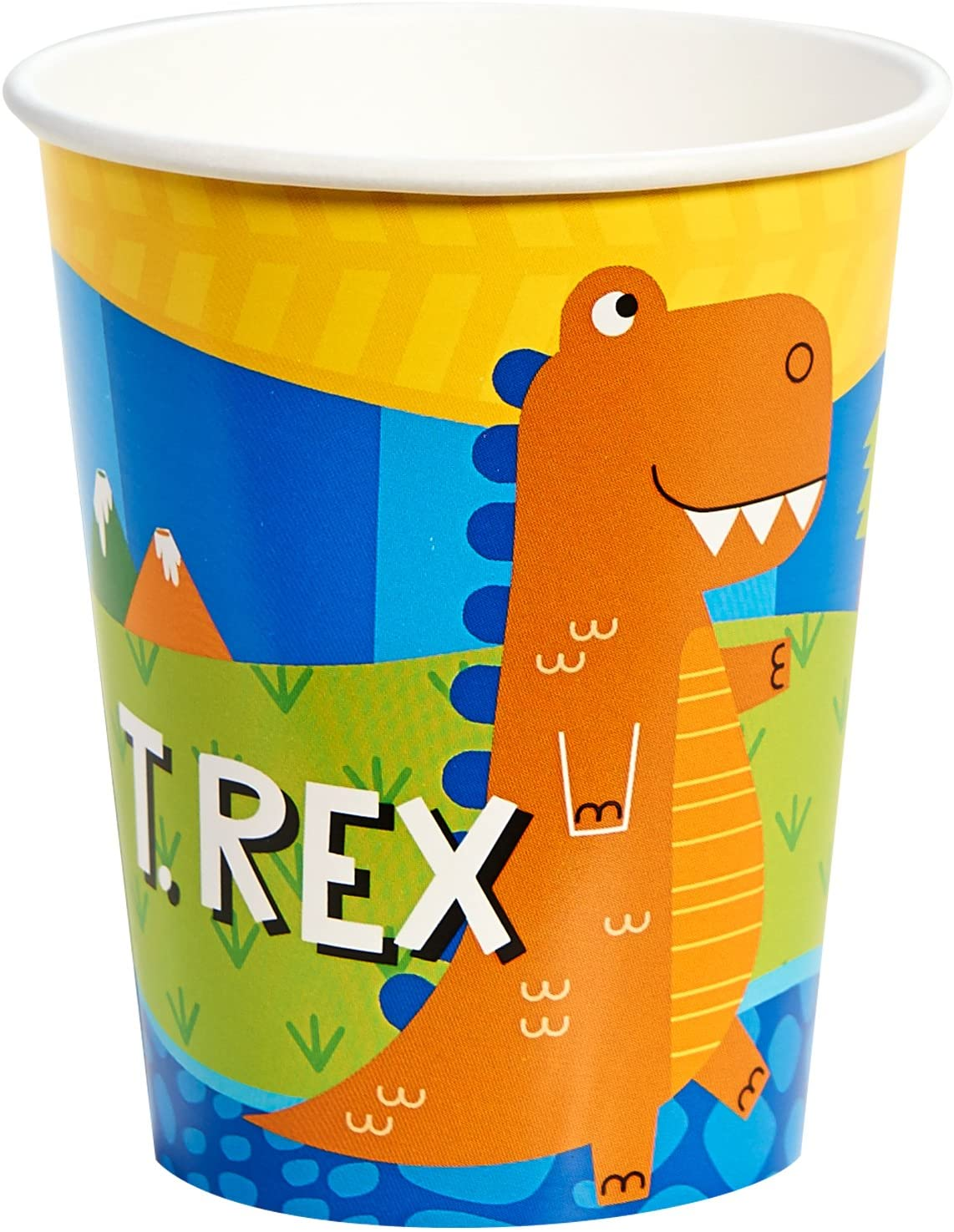 BirthdayExpress T-Rex Dinosaur Party Supplies - 9 oz. Paper Cups (8)
