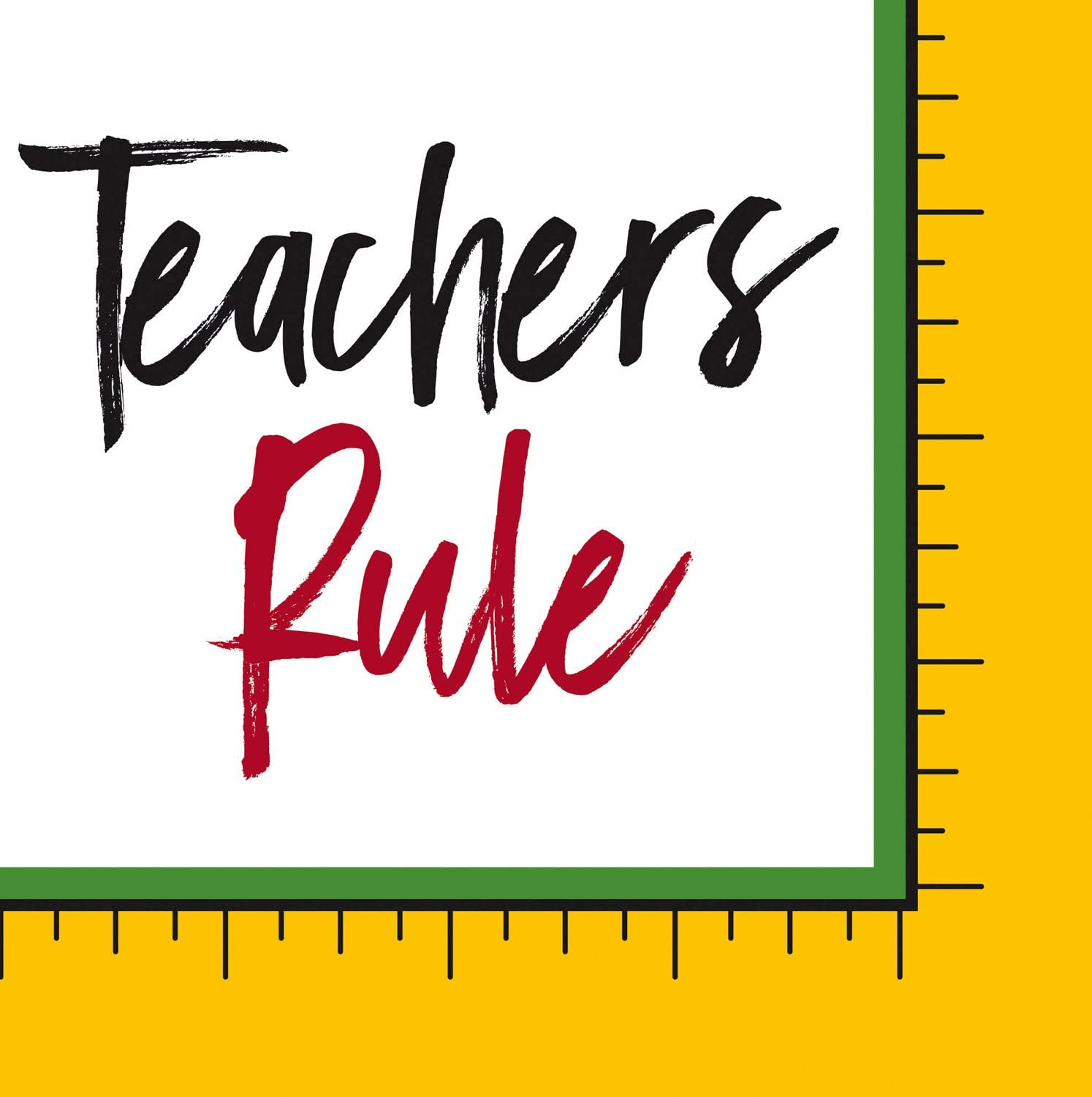 Teachers Rule Paper Cocktail Napkin, Set of 20-5 x 1 x 5 Inches