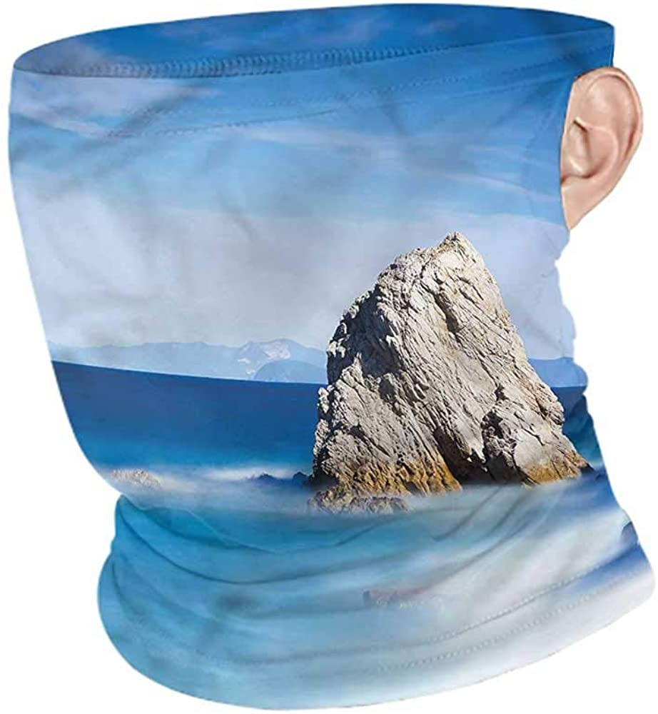 Face Bandana Italian,Rock in Ocean Serenity Cold Weather Face Cover
