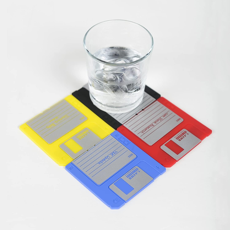 Nineties Nerd Retro Floppy Disk Non-slip Silicone Drink Coaster Set by Modern Coaster