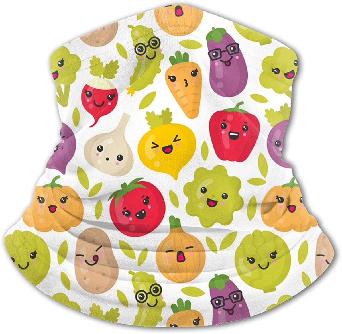 Cute Smiling Vegetables Neck Gaiter Face Mask Bandana Dust Wind Sun UV Balaclava for Teen Boy Girl Outdoors