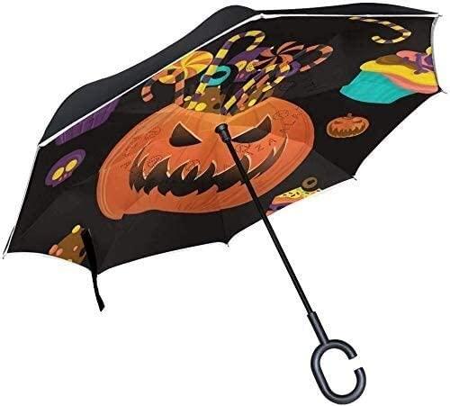 ASDF Inverted Umbrella Happy Halloween Pumpkin Candy Double Layer Reverse Umbrella with C-Shaped Handle