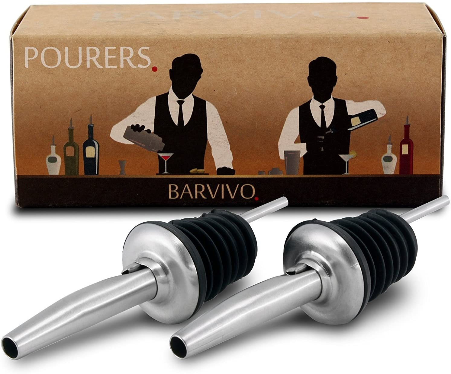 Professional Liquor Pourers Set of 2 by Barvivo - Classic Free Flow Bartender Bottle Pourer w/Tapered Spout, Fits Alcohol Bottles up to 1l. - Best for Pouring Wine, Spirits, Syrup and Olive Oil.