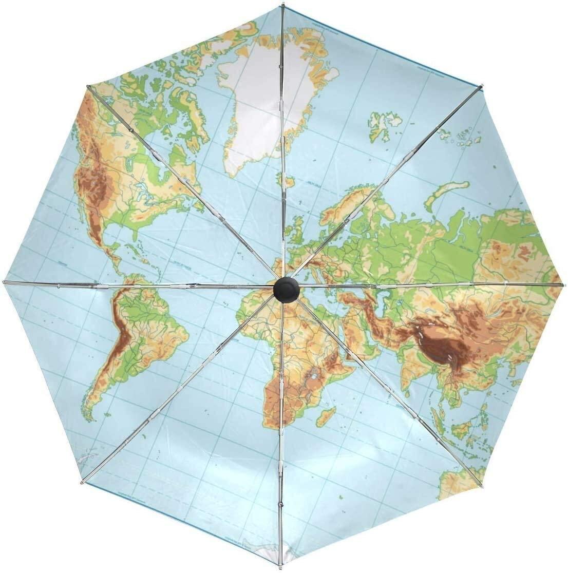 ASDF Automatic Umbrellas Geometric World Map Plaid Anti-Slip Windproof Compact Rain Umbrella for Women Men