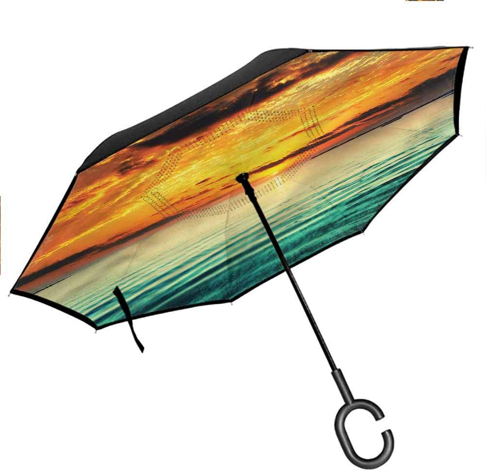 flyrio Ocean Inverted Umbrellas Reverse Folding Umbrella Small Boat at Distance Coast Folding Double Layer for UV Protection & Rain