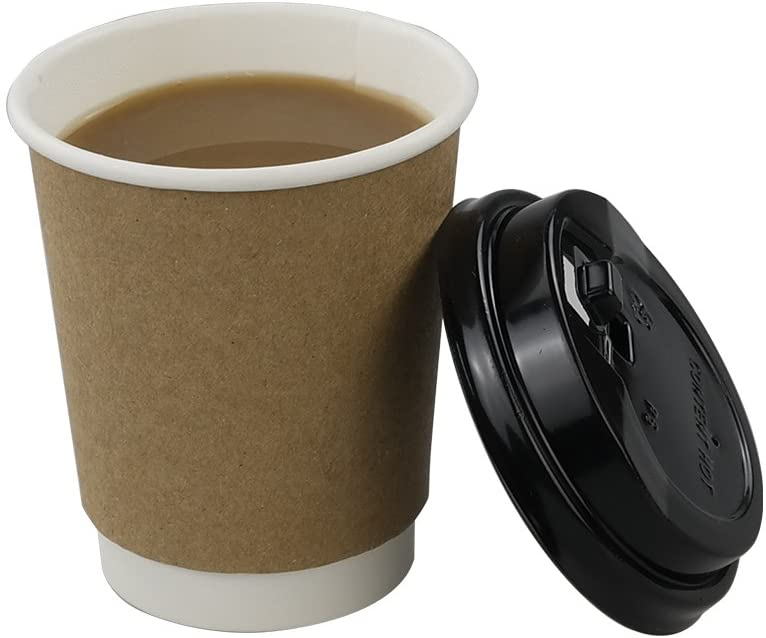 HOMMP 8 Oz Disposable Hot Coffee Paper Cups with Lids, 100 Counts/Box, F