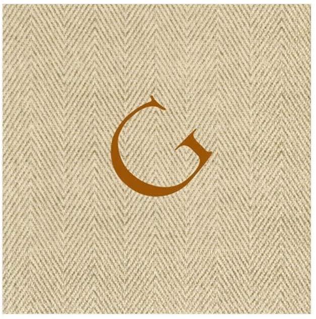 Caspari Natural Jute Paper Linen Boxed Cocktail Napkins in Letter G - Pack of 30
