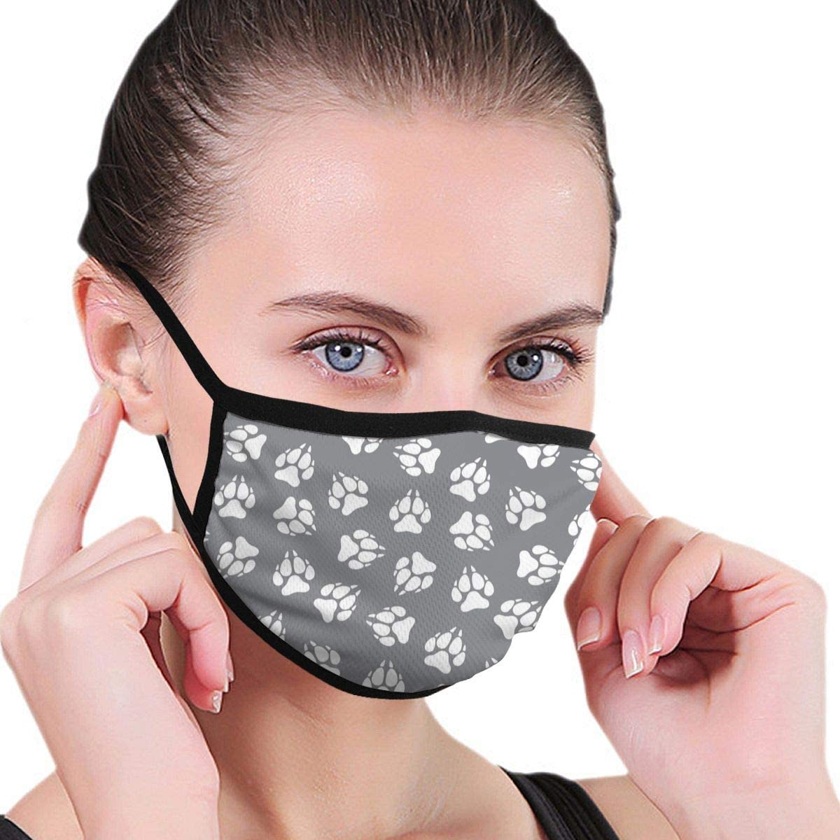 Anti Dust Breathable Face Mouth Mask Wolf Paw Print Washable Face Mask for Cycling Camping Travel