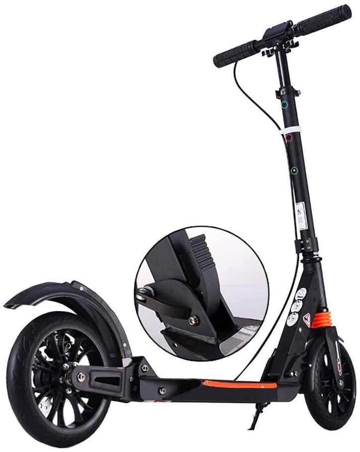 PLLP Adult Kick Scooter Adjustable Height, Foldable Commuter Scooters with Disc Brakes 2 Big Wheel Dual Suspension, up to 150Kg