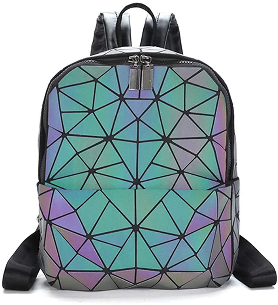 Orita Luminous Geometric Backpack Fashion Holographic Reflective Backpacks and Purse Set of 2