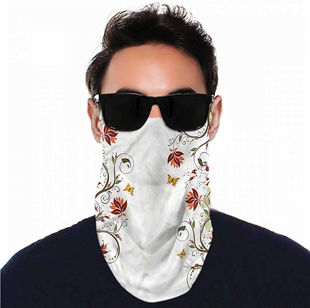 Face Cover Floral,Artistic Leaves Branches Ski Tube Scarf