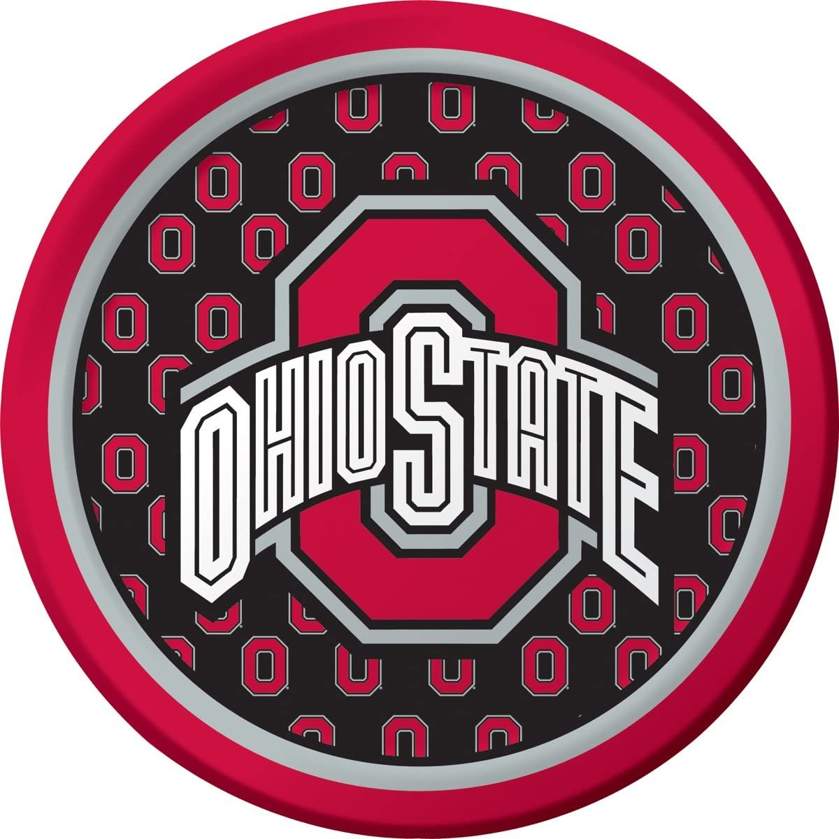 8-Count Round Paper Dinner Plates, Ohio State Buckeyes