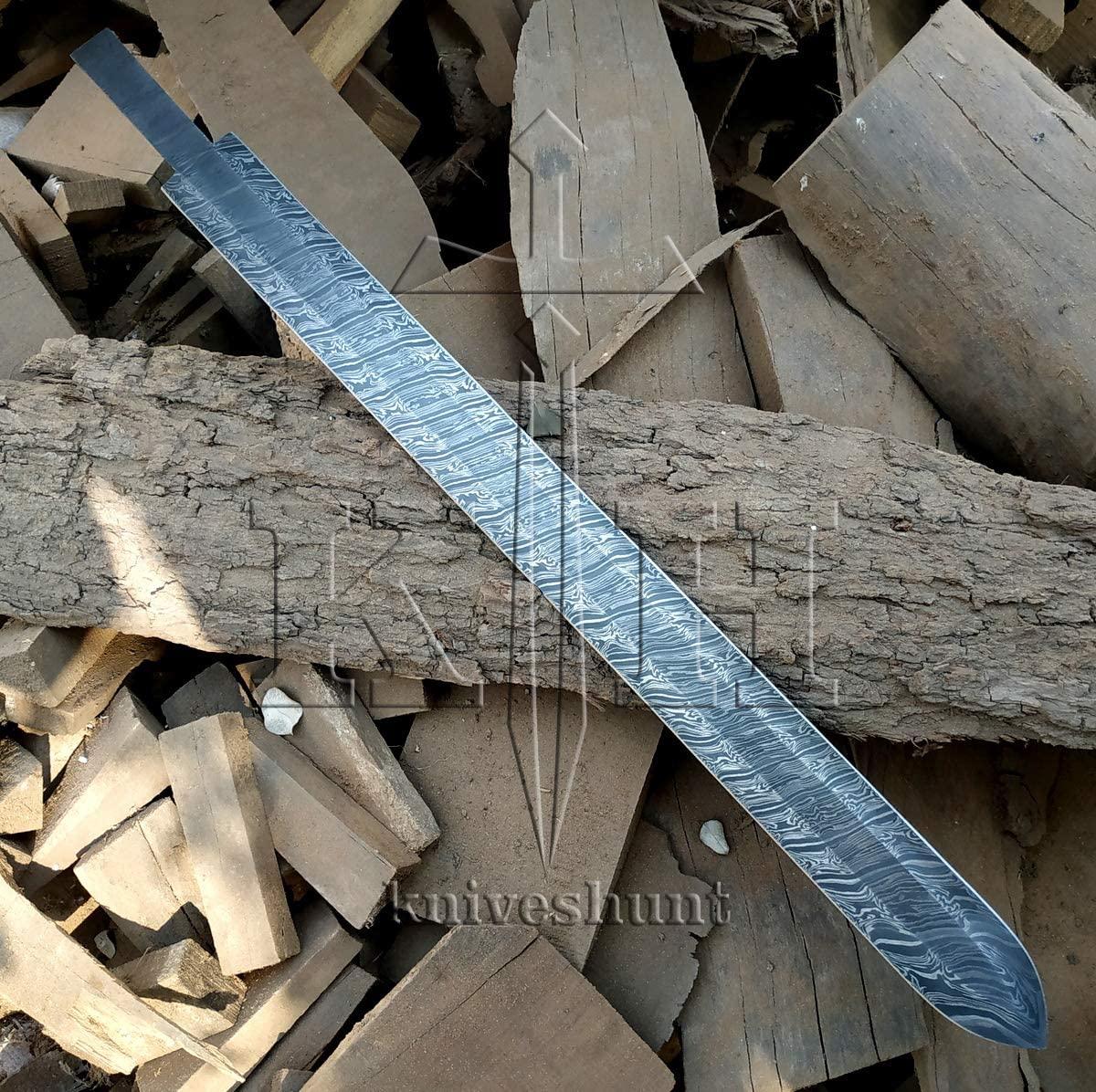 SK-Knives Damascus Knife Custom Handmade - 28 Inches Damascus Steel Sword Blank Blade