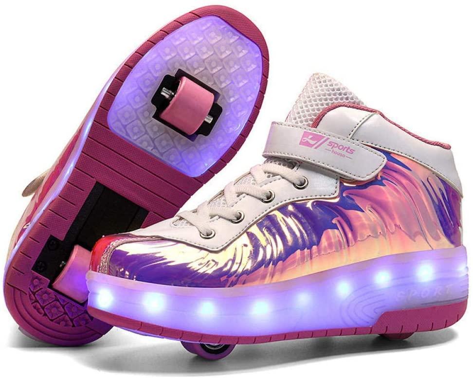 XIAZHOU Skating Ladies Shoes, Childrens Shoes Skating, Inline Skates, Roller Shoes Deformation Adult Children, Blackredsinglewheel-33 (Color : Pink1, Size : 39)