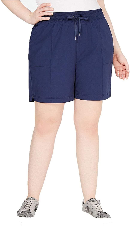 Ideology Plus Size Woven Shorts-3X-NAVY Serenity