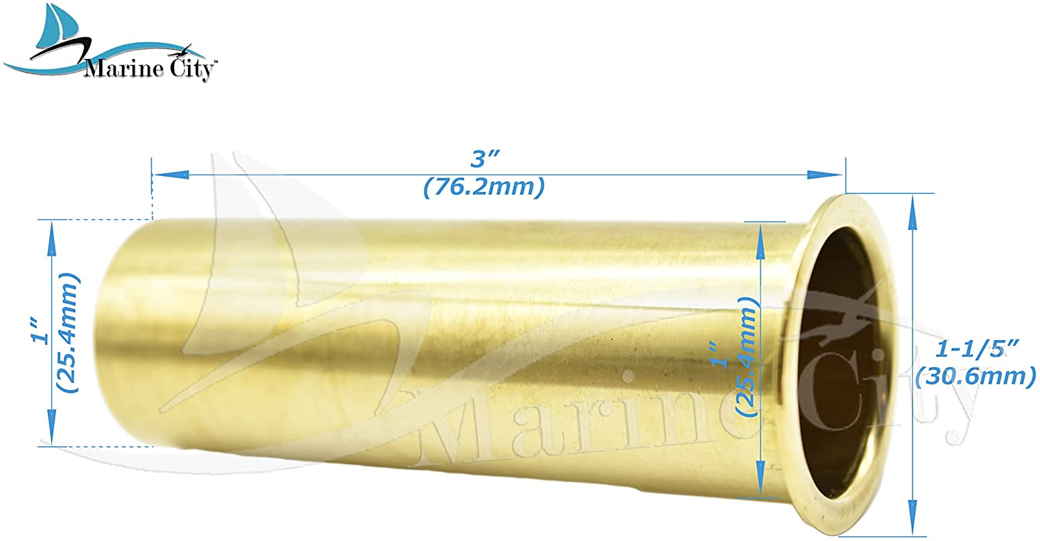 MARINE CITY Brass 3 Inches x 1 Inches Drain Tube for Boat (3 Inches x 1 Inch)