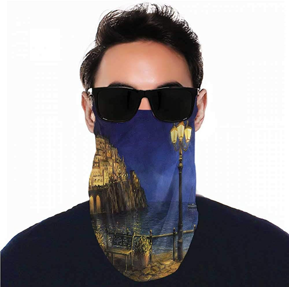Neck Gaiter Italy,Romantic Evening at The Coast Unisex Seamless Rave Bandana