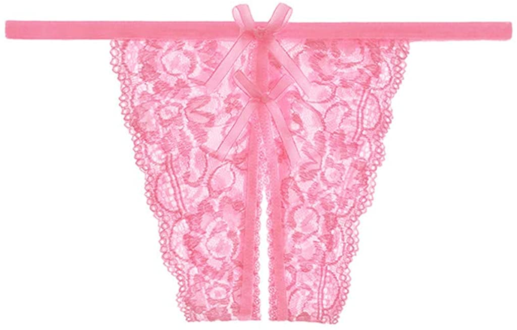 YFancy Women Ladies Thongs Sexy Lace Mesh Hollow Out Perspective Bandage Panties Briefs G-String Underwear Lingerie Pink