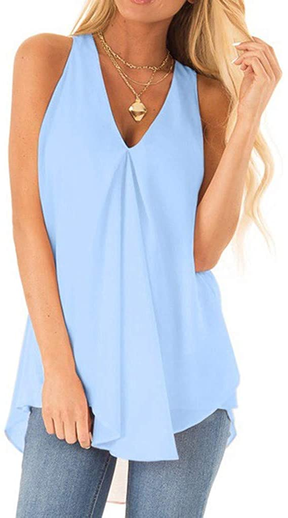 NREALY Blusa Womens V Neck Sleeveless Solid Chiffon Casual Loose Tank Top Flowy Summer Top