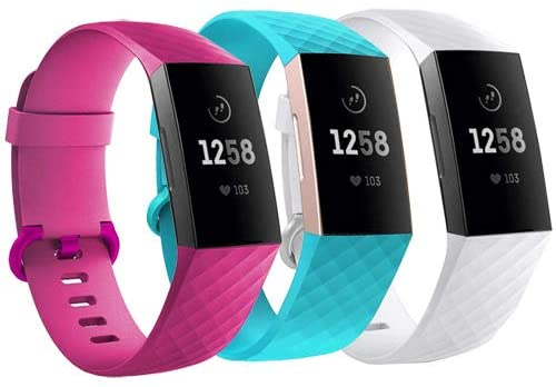 Replacement Wristbands for Fitbit Charge 3 SE and Fitbit Charge 4 (Small, White+Blue+Pink)