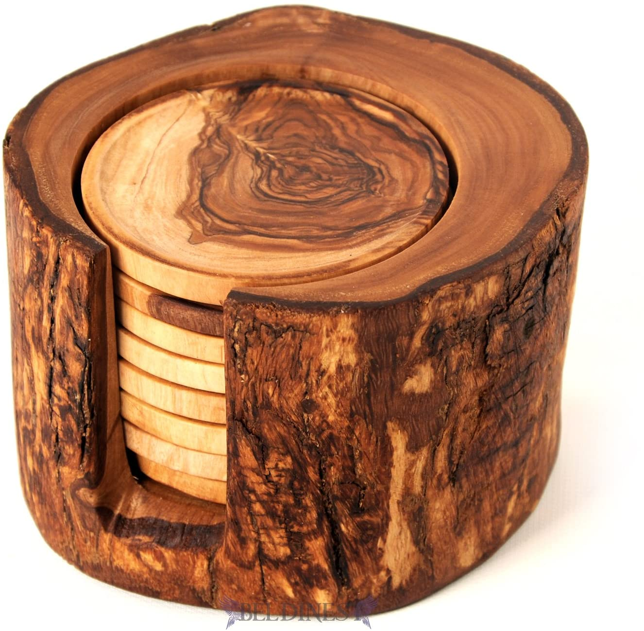 BeldiNest Sale! Olive Wood Rustic Coaster Set of 8 and Holder, Wooden Handmade Coasters