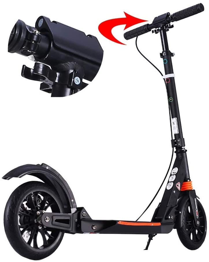 PLLP Adult Kick Scooter Foldable Commuter Scooters, with Disc Brakes, Adjustable Height, 2 Big Wheel, up to 100Kg, Non-Electric