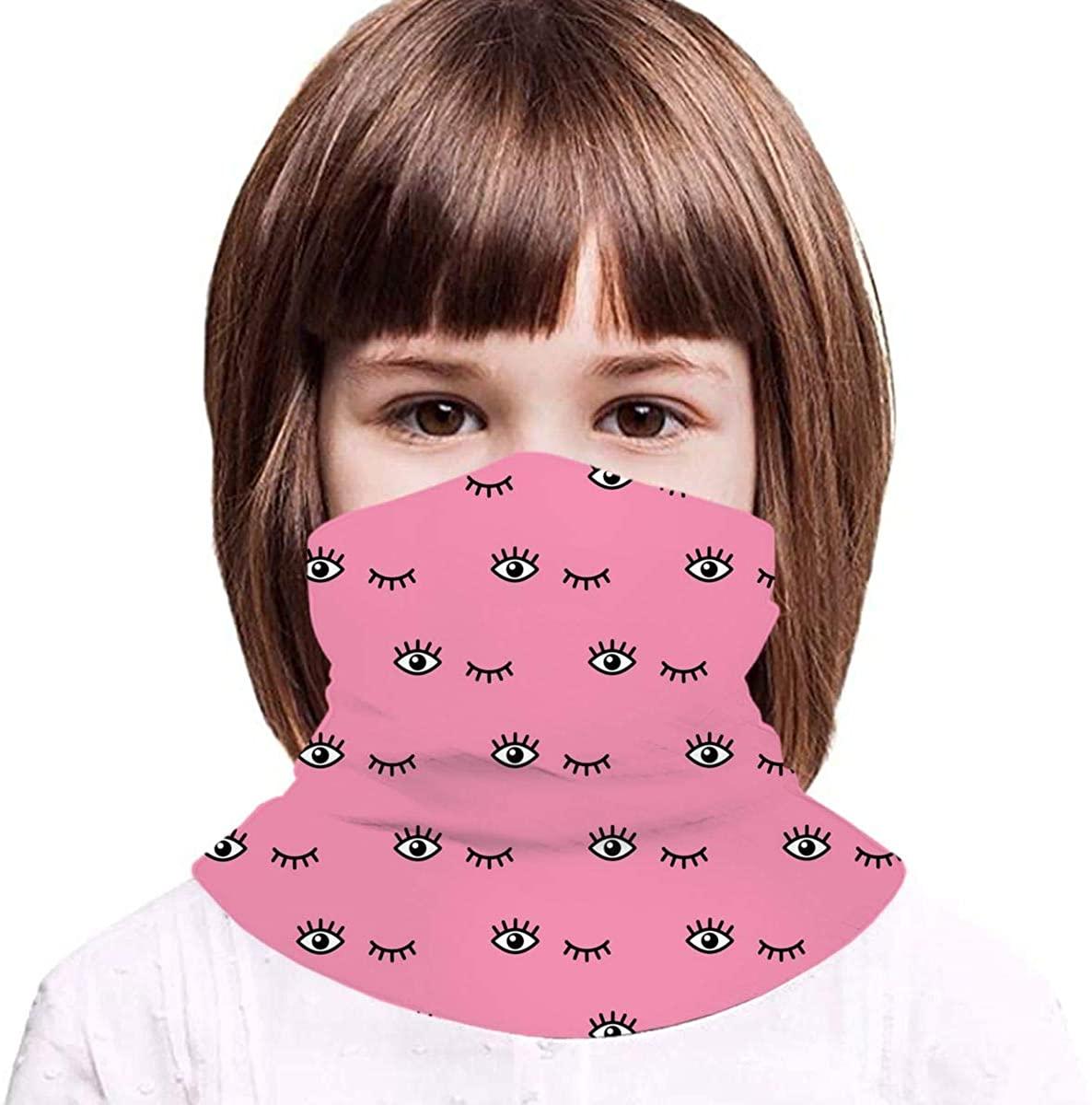 with Cartoon Eyes On Pink Kids Bandanas Reusable Washable Neck Gaiter Balaclava,Half Face Protective Masks