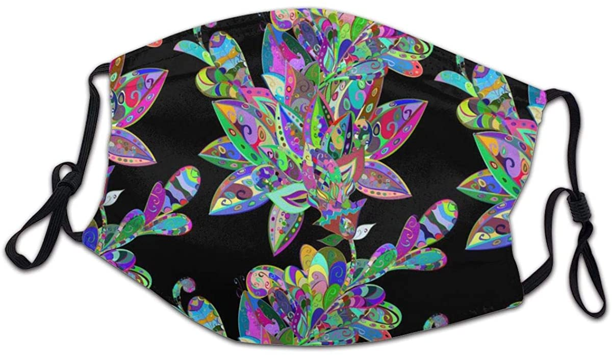 SLHFPX Abstract Colorful Rainbow Flower Washable Reusable Kids Dust Cover Scarf Bandana for Boys Girls