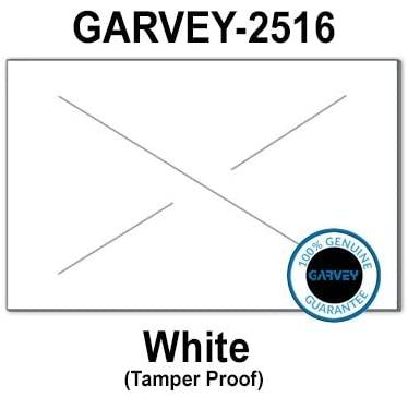 160,000 GENUINE GARVEY 2516 White General Purpose Labels: full case - 20 ink rollers - tamper proof security cuts