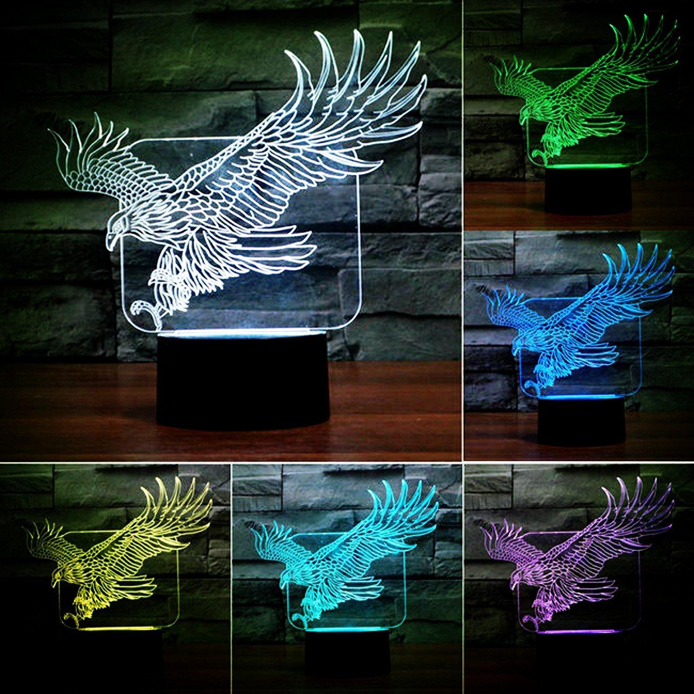 SUPERNIUDB Eagle Lamp Acrylic 3D LED USB Night Light 7 Color Change LED Table Lamp Xmas Toy Gift