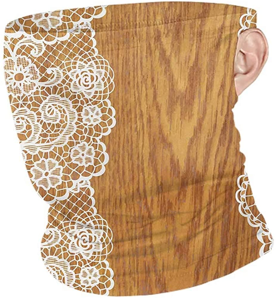 Headband Cooling Vintage Shabby Chic Lace Pattern on Wooden Rustic Background Feminine Retro Image,for Dust, Outdoors, Festivals, Sports Pale Caramel White 10 x 12 Inch