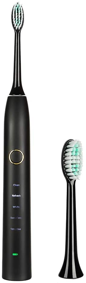 Sonic Electric Toothbrush for Adults and Teens 5 Modes with 2 Mins Build in Timer 6 Hours Charge 100 Day Use Electric Travel & Portable Toothbrush with 2 Brush Heads